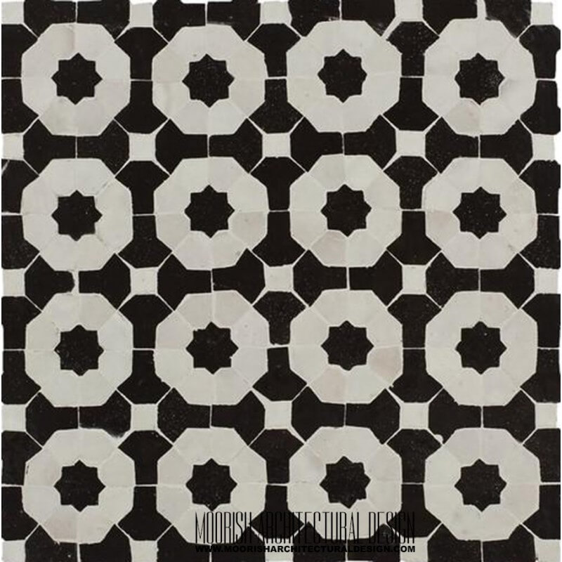 Black & White Moroccan kitchen tile