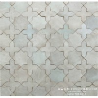 White Moroccan bathroom wall tile