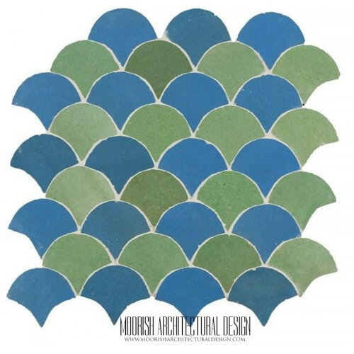 Green & Blue Fish Scale Tile