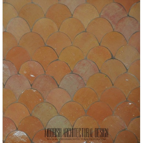 Peach fish scales tile