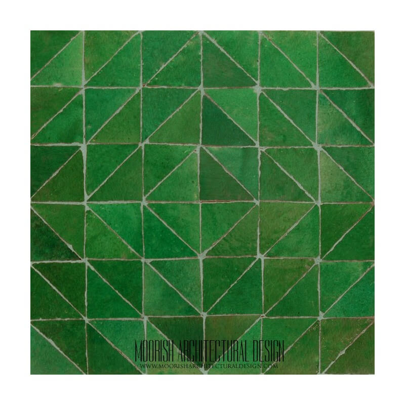 Green Moroccan bathroom floor tile design