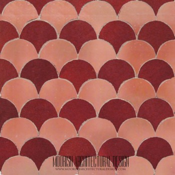 Rose & Red Fish Scales Tile