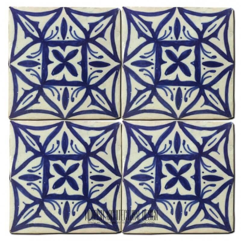 Blue Moorish shower floor tile