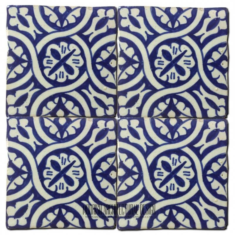 Blue Moorish Ceramic Bathroom Wall Tile