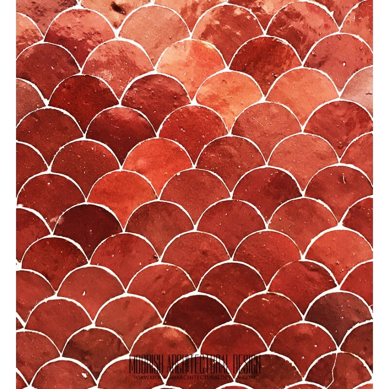 Red Moroccan Fish Scales Tile