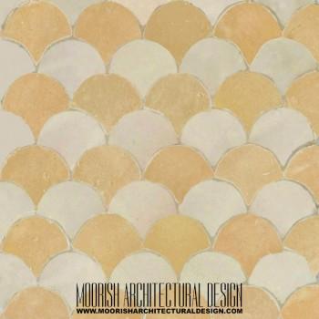 Tan White Fish Scales Tile