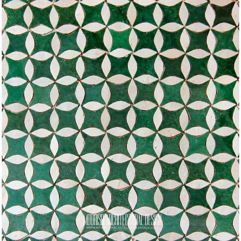 Green White Moroccan Tile