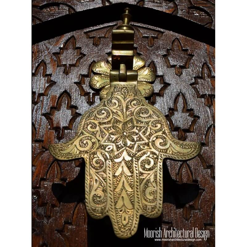 Moroccan brass hand door knocker