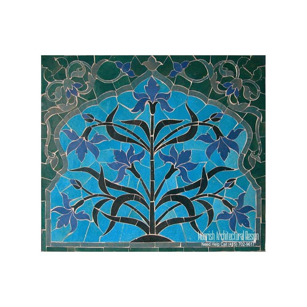 Kitchen backsplash murals moroccan kitchen tiles for Art deco tile mural