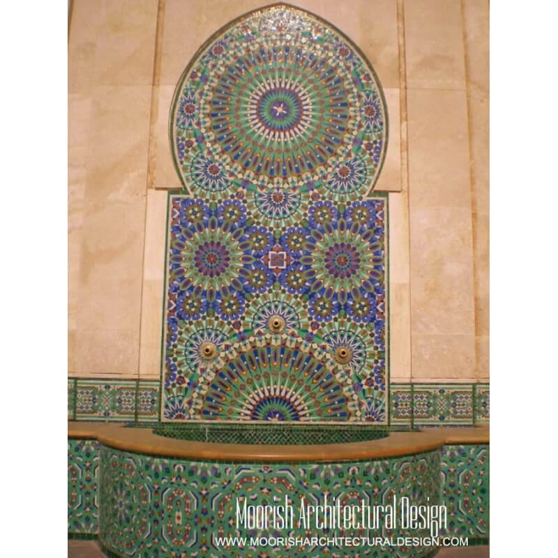 Moroccan tile fountain