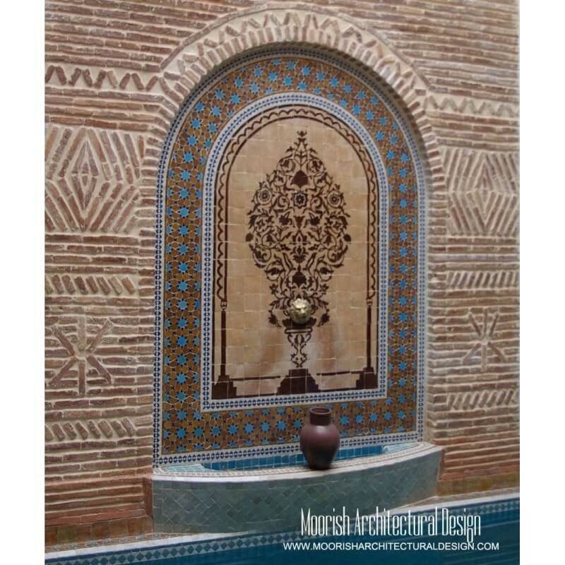 Moorish mosaic fountain